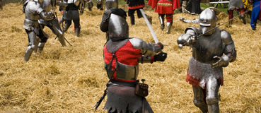 Inside a medieval melee stock photography