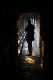 Silhouette in medieval tunnel Stock Photos