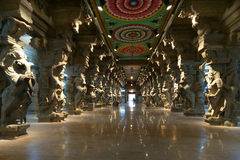 Inside of Meenakshi hindu temple in Madurai Royalty Free Stock Photo