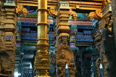Inside of Meenakshi hindu temple in Madurai, India Royalty Free Stock Images