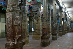 Inside of Meenakshi hindu temple in Madurai, INDIA Royalty Free Stock Photos