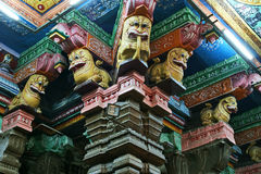 Inside of Meenakshi hindu temple in Madurai, South India Royalty Free Stock Photo