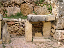 Inside of megalithic temple in Malta. Prehistoric temple in Malta built from limestone Stock Image