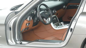 Inside of a Mercedes Benz SLS AMG 6.3 Stock Image