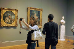 Inside the MET Art Gallery, New York City USA. Students visit the Metropolitan Museum of Art (The MET), in New York City USA stock photos