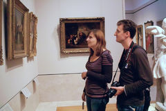 Inside the MET Art Gallery, New York City USA. Students visit the Metropolitan Museum of Art (The MET), in New York City USA royalty free stock images