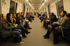 Inside metro. Metro train in bucharest, romania stock photo