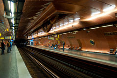 Inside the Metro station Arts et Metiers. March 29, 2011 in Paris. royalty free stock photo