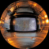 Inside microwave. With fisheye lens Stock Photo