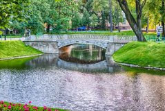 Inside Mikhailovsky Garden, idillic park in central St. Petersbu Royalty Free Stock Photos