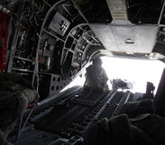 Inside of a military chopper in Afghanistan Royalty Free Stock Image