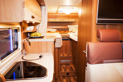 Inside of Modern Camper Stock Photo