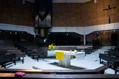 Inside of a modern Church. With Sunbeam to the Altar Stock Photos