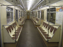 Inside of modern subway car. In Moscow (built in 2004 stock photo
