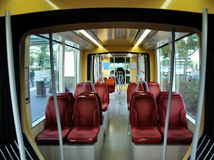 Inside a modern tramway. Interior part of a tram in Strasbourg, France Stock Photo