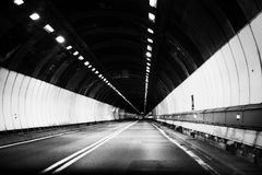 Inside Mont Blanc tunnel. Crossing from Italy to Chamonix, France royalty free stock images