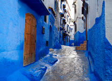 Inside of moroccan blue town Chefchaouen medina Royalty Free Stock Photography