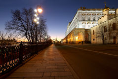 Inside of Moscow Kremlin at night, Russia. UNESCO World Heritage Site Stock Images