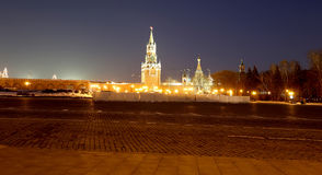 Inside of Moscow Kremlin at night, Russia. UNESCO World Heritage Site Royalty Free Stock Image