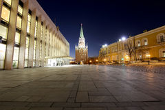 Inside of Moscow Kremlin at night, Russia. UNESCO World Heritage Site Royalty Free Stock Photo