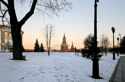 Inside of Moscow Kremlin at night, Russia. UNESCO World Heritage Site Royalty Free Stock Photos