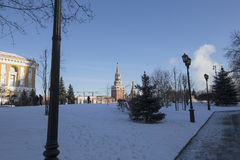 Inside of Moscow Kremlin on a sunny winter day, Russia Royalty Free Stock Photo