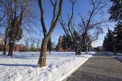 Inside of Moscow Kremlin on a sunny winter day, Russia Stock Photography