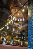 Inside a mosque. Interior of mosque in Istanbul, Turkey Royalty Free Stock Photo
