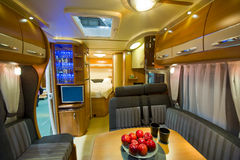 Inside motor home. View inside a new motor home camper with interior and decoration around Royalty Free Stock Photos