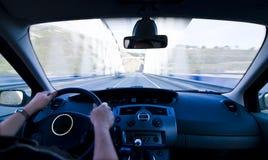 Inside moving vehicle Stock Photo