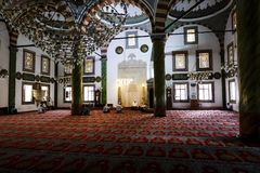 Inside a Muslim mosque with some people in Trabzon stock images