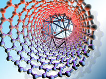 Inside nanotube and Buckminsterfullerene (C60) molecule , computer artwork Royalty Free Stock Images