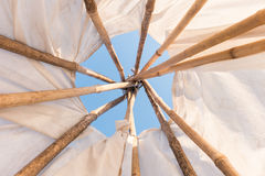Inside a Native American Indian tepee. Look up in sky inside a Native American Indian tepee Royalty Free Stock Photography