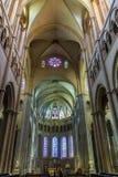 Inside the nave of the Cathedrale Saint-Jean-Baptiste de Lyon - Stock Image