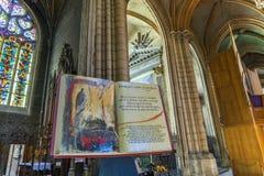 Inside the nave of the Cathedrale Saint-Jean-Baptiste de Lyon - Stock Photos