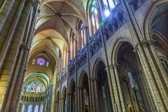 Inside the nave of the Cathedrale Saint-Jean-Baptiste de Lyon - Royalty Free Stock Photography