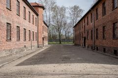 Inside the Nazi Concentration Camp of Auschwitz 1 showing the barrack buildings where prisoners lived in appalling conditions. Inside the Nazi Concentration Camp stock photo