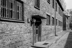 Inside the Nazi Concentration Camp of Auschwitz 1 showing the barrack buildings where prisoners lived in appalling conditions. Inside the Nazi Concentration Camp stock photos