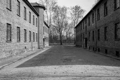 Inside the Nazi Concentration Camp of Auschwitz 1 showing the barrack buildings where prisoners lived in appalling conditions. Inside the Nazi Concentration Camp stock images