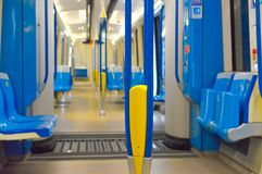 Inside of the new metro train in Montreal. Canada royalty free stock images
