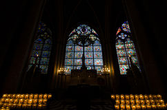 Inside Notre Dame Gothic glass Stock Photography