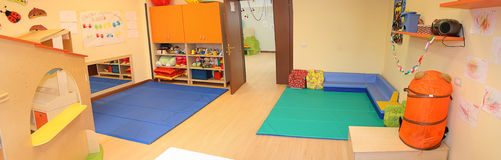Nursery. Inside of a nursery with lots of games and chores of children Royalty Free Stock Photography