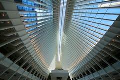 Inside the Oculus of the New World Trade Center Transportation Hub designed by Santiago Calatrava Stock Photos