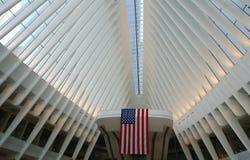 Inside the Oculus of the New World Trade Center Transportation Hub designed by Santiago Calatrava Stock Image