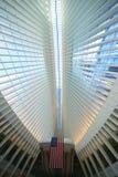 Inside the Oculus of the New World Trade Center Transportation Hub designed by Santiago Calatrava Stock Photography