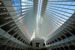 Inside the Oculus of the New World Trade Center Transportation Hub designed by Santiago Calatrava Stock Photography