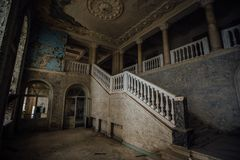 Inside Of Old Creepy Abandoned Mansion. Staircase And Colonnade Stock Images