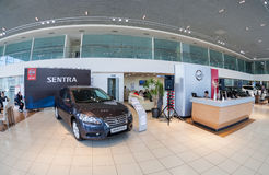 Inside in the office of official dealer Nissan Stock Photos