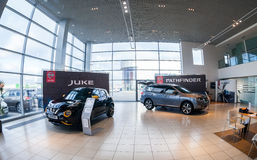 Inside in the office of official dealer Nissan Stock Photo