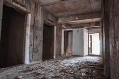 Inside of old abandoned building with construction unfinished Stock Photography